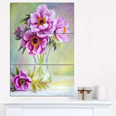 Art mural floral en métal, pivoines violettes dans un vase, 28 x 36 po, 3 panneaux, (MT6098-28-36)