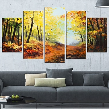 Autumn Forest Pathway Landscape Metal Wall Art