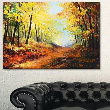 Art mural en métal, paysage, sentier d'une forêt d'automne, 28 x 12 po, (MT6101-28-12)
