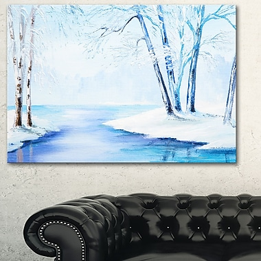 River in Snowy Winter Landscape Large Metal Wall Art, 28x12, (MT6108-28-12)