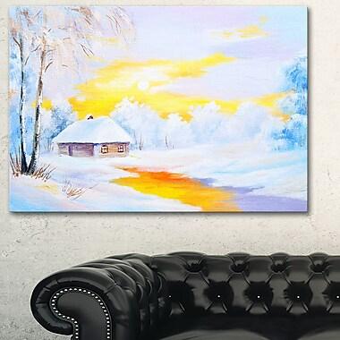 Art mural en métal, rivière glacée en hiver, 28 x 12 (MT6109-28-12)