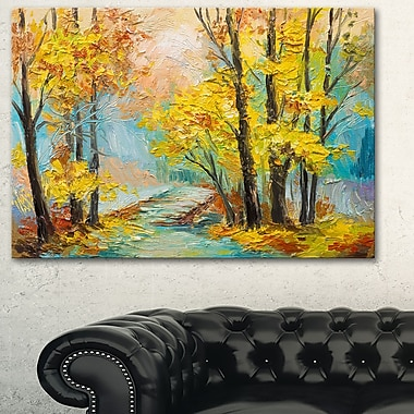 Yellow Falling Forest Landscape Metal Wall Art, 28x12, (MT6111-28-12)