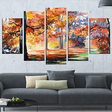 Art mural en métal, paysage, sentier d'automne en forêt, 60 x 32 po, 5 panneaux (MT6114-373)