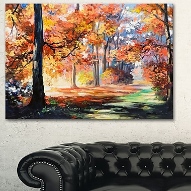 Fall Trail in Forest Landscape Metal Wall Art, 28x12, (MT6114-28-12)