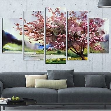 Tree with Spring Flowers Floral Metal Wall Art, 60x32, 5 Panels, (MT6120-373)