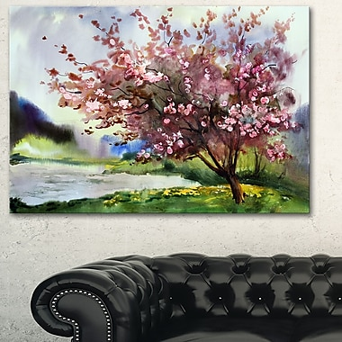 Tree with Spring Flowers Floral Metal Wall Art, 28x12, (MT6120-28-12)