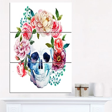 Skull Bouquet Vector Art, Contemporary Metal Wall Art, 28x36, 3 Panels, (MT6128-28-36)