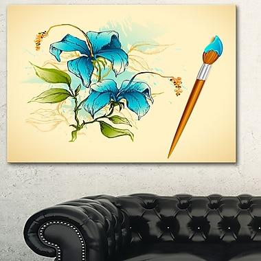 Art mural floral en métal, illustration, fleur avec pinceau, 28 x 12 po (MT6130-28-12)