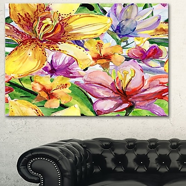 Lily Flowers Illustration Art, Floral Metal Wall Art, 28x12, (MT6131-28-12)
