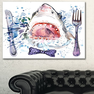 Hungry Shark Illustration Animal Metal Wall Art, 28x12, (MT6132-28-12)