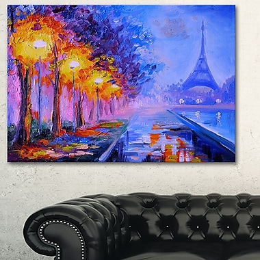 Art mural en métal, paysage, Tour Eiffel de loin, 28 x 12 po (MT6137-28-12)