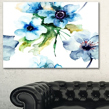 Seamless Summer Blue Flowers Floral Metal Wall Art, 28x12, (MT6142-28-12)