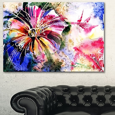 Flowers in a Collage Floral Metal Wall Art, 28x12, (MT6146-28-12)