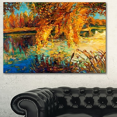 Autumn Forest and Sky Landscape Metal Wall Art, 28x12, (MT6150-28-12)