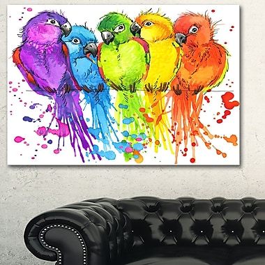 Colourful Parrots Illustration Animal Metal Wall Art, 28x12, (MT6151-28-12)