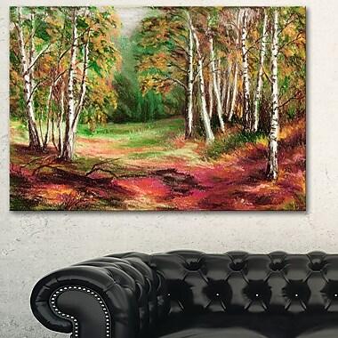 Art mural en métal, paysage de forêt automnale verte, 28 x 12 po, (MT6155-28-12)