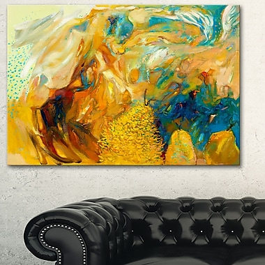 Art mural abstrait en métal, collage abstrait jaune, 28 x 12 po, (MT6156-28-12)