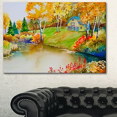 House and Quiet Pond in Fall Landscape Metal Wall Art, 28x12, (MT6158-28-12)