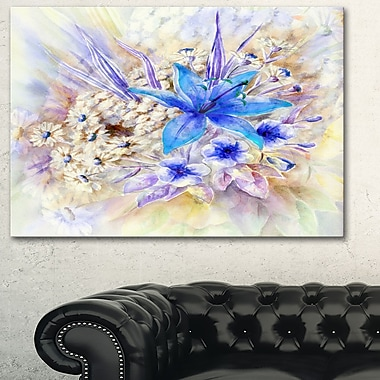 Flowers, Leaves Watercolour Floral Metal Wall Art, 28x12, (MT6159-28-12)