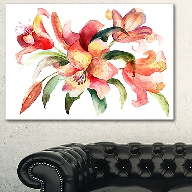 Lily Flowers WaterColour Illustration Metal Wall Art, 28x12, (MT6160-28-12)