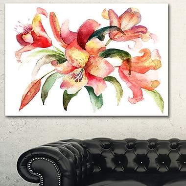 Aquarelle de fleurs de lys, art mural floral en métal, 28 x 12, (MT6160-28-12)
