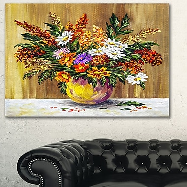 Wild Flowers in a Pot Floral Metal Wall Art, 28x12, (MT6163-28-12)