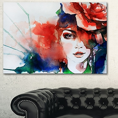 Woman with Rose Illustration Abstract Metal Wall Art, 28x12, (MT6166-28-12)