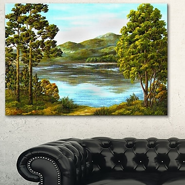 Mountain Lake with Blue Water Landscape Metal Wall Art, 28x12, (MT6167-28-12)