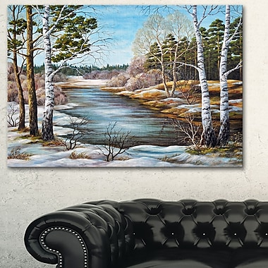 The spring Siberian River Landscape Metal Wall Art, 28x12, (MT6169-28-12)