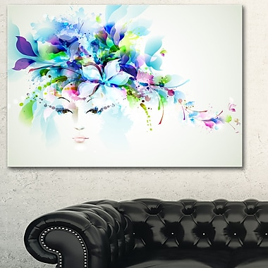 Woman with Blue Flowers Floral Metal Wall Art, 28x12, (MT6172-28-12)