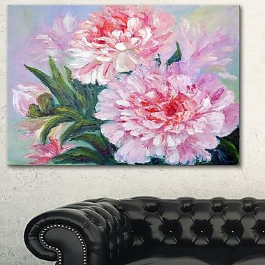 Art mural floral en métal, pivoines florissantes, 28 x 12 po, (MT6173-28-12)