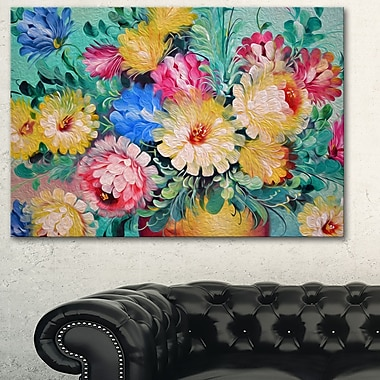Digital Flowers Art, Floral Metal Wall Art, 28x12, (MT6175-28-12)