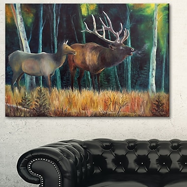 Wandering Deer in Forest Animal Metal Wall Art, 28x12, (MT6178-28-12)