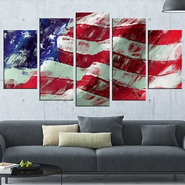 USA Flag Abstract Art, Map & Flag Metal Wall Art, 60x32, 5 Panels, (MT6179-373)