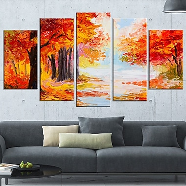 Orange Forest in Autumn Landscape Metal Wall Art