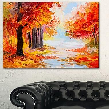 Orange Forest in Autumn Landscape Metal Wall Art, 28x12, (MT6180-28-12)