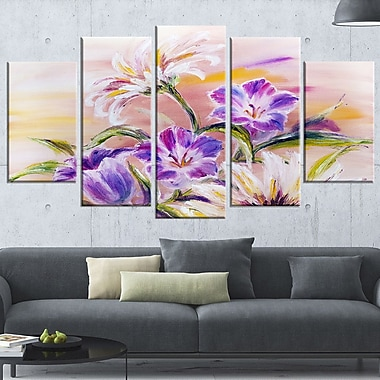 Purple Wildflowers Floral Metal Wall Art, 60x32, 5 Panels, (MT6188-373)