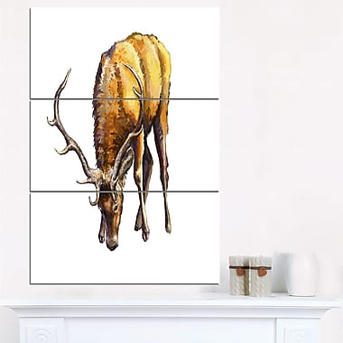 Male Deer Illustration Art, Animal Metal Wall Art, 28x36, 3 Panels, (MT6191-28-36)