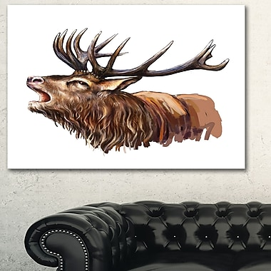 Deer Head Illustration Art, Animal Metal Wall Art, 28x12, (MT6196-28-12)