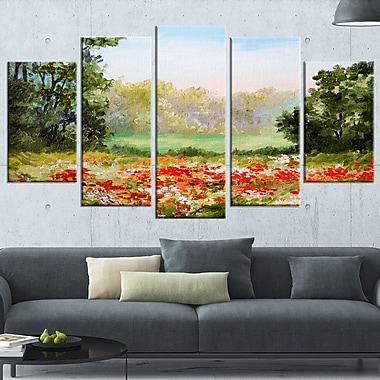 Poppy Field with Sky Landscape Metal Wall Art, 60x32, 5 Panels, (MT6197-373)