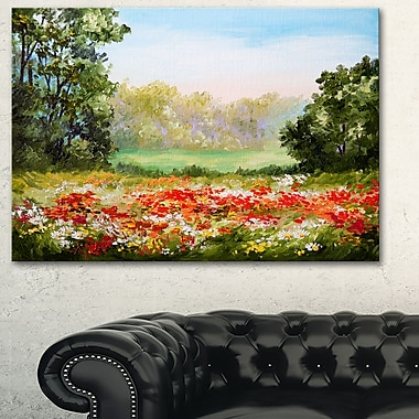 Art mural en métal, paysage, champ de coquelicots avec ciel, 28 x 12 po, (MT6197-28-12)