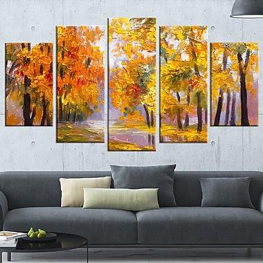 Full of Fallen Leaves Landscape Metal Wall Art, 60x32, 5 Panels, (MT6202-373)