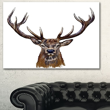 Deer Head in Front Illustration Animal Metal Wall Art, 28x12, (MT6209-28-12)