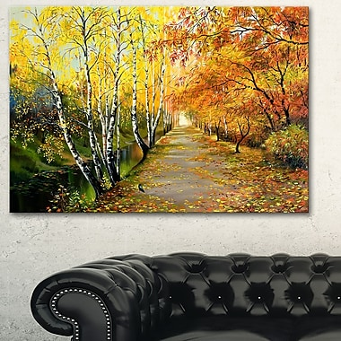 Beautiful Fall Forest Landscape Metal Wall Art, 28x12, (MT6211-28-12)