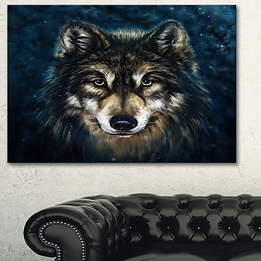 Art mural en métal d'animal, loup souriant, 28 x 12 po (MT6212-28-12)