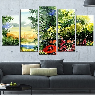 WaterColour Landscape with Flowers Metal Wall Art