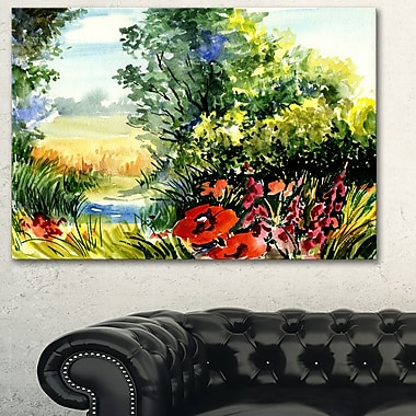 WaterColour Landscape with Flowers Metal Wall Art, 28x12, (MT6214-28-12)
