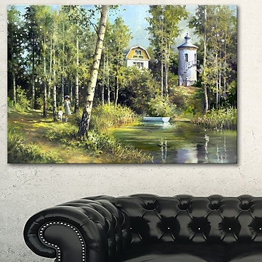 The River in the Spring Landscape Metal Wall Art, 28x12, (MT6219-28-12)