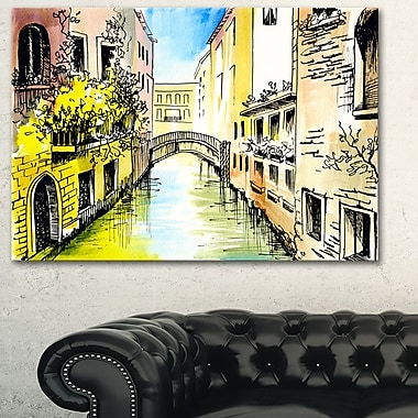 Canal in Venice Cityscape Metal Wall Art, 28x12, (MT6220-28-12)