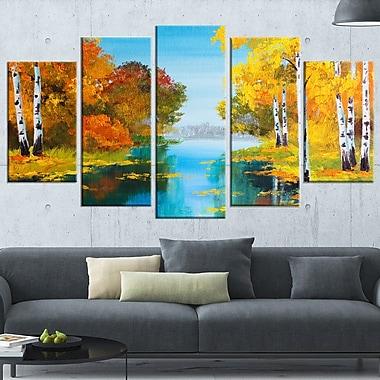 Birch Forest near the River Landscape Metal Wall Art, 60x32, 5 Panels, (MT6223-373)